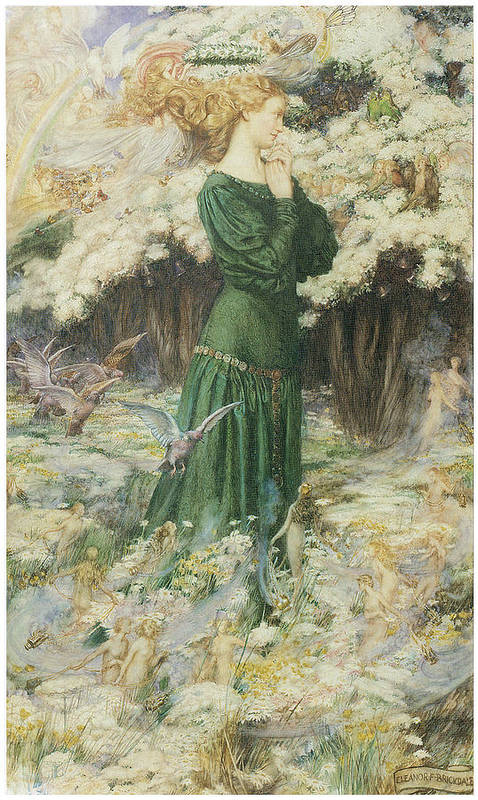 Eleanor Fortescue-brickdale Poster featuring the painting The Lover's World by Eleanor Fortescue-Brickdale