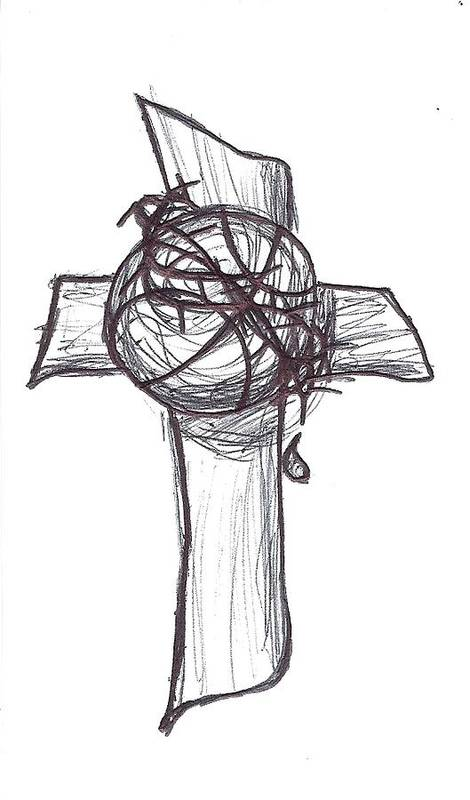 Cross Poster featuring the drawing True Loves by Sherry Klander