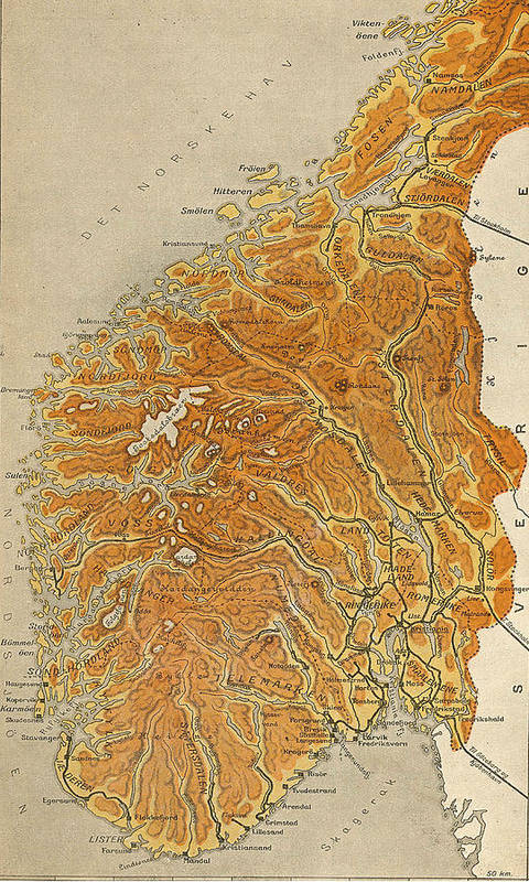 Norway Poster featuring the drawing Vintage Map Of Norway - 1914 by CartographyAssociates
