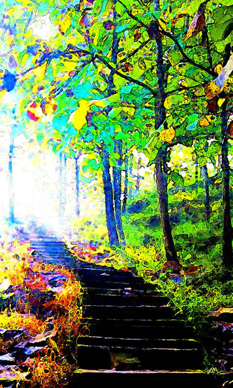 Landscape Poster featuring the digital art Garden Stairway Abstract by Linda Mears
