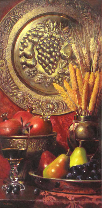 Wine Still Life Poster featuring the painting Golden Harvest With Red Wine by Takayuki Harada