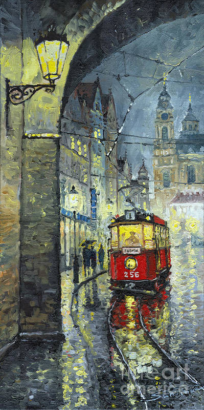Oil Poster featuring the painting Praha Red Tram Mostecka Str by Yuriy Shevchuk