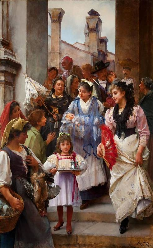 Religious Poster featuring the painting A Venetian Christening Party, 1896 by Henry Woods