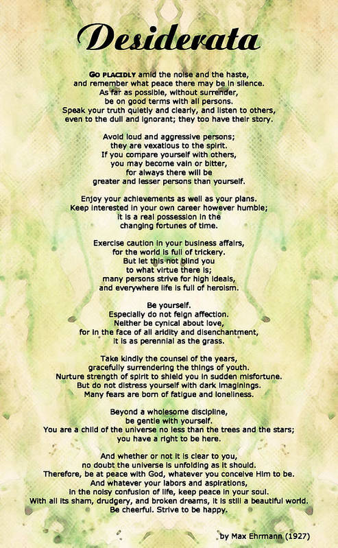 Desiderata 5 Words Of Wisdom Poster By Sharon Cummings