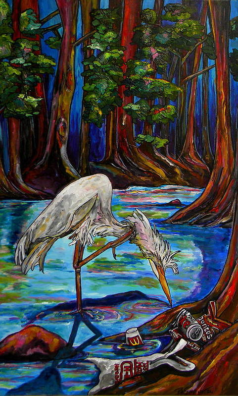 Egret Poster featuring the painting Leave Only Footprints by Patti Schermerhorn