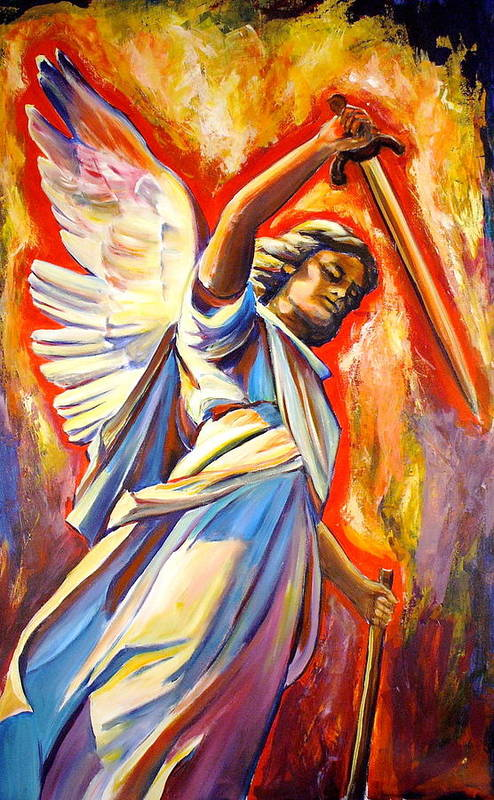 St. Michael The Archangel Poster featuring the painting St. Michael by Sheila Diemert