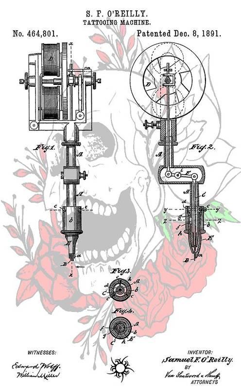 Tattoo Gun Patent Poster featuring the digital art Tattoo Machine Patent by Dan Sproul