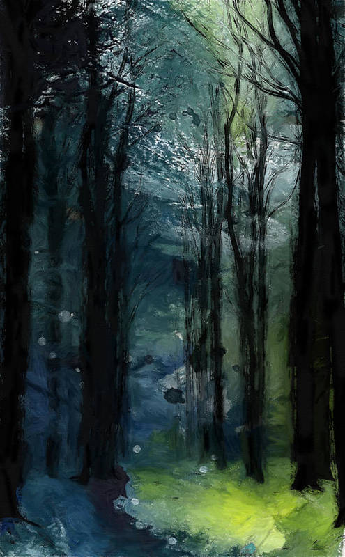 Nature Landscape Wood Forest Trees Cold Green Autumn Winter Path Dramatic Expressionism Surreal Color Colorful Sky Tree Grass Leaves Leaf Painting Pastel Poster featuring the painting The Last Days Of Green by Steve K