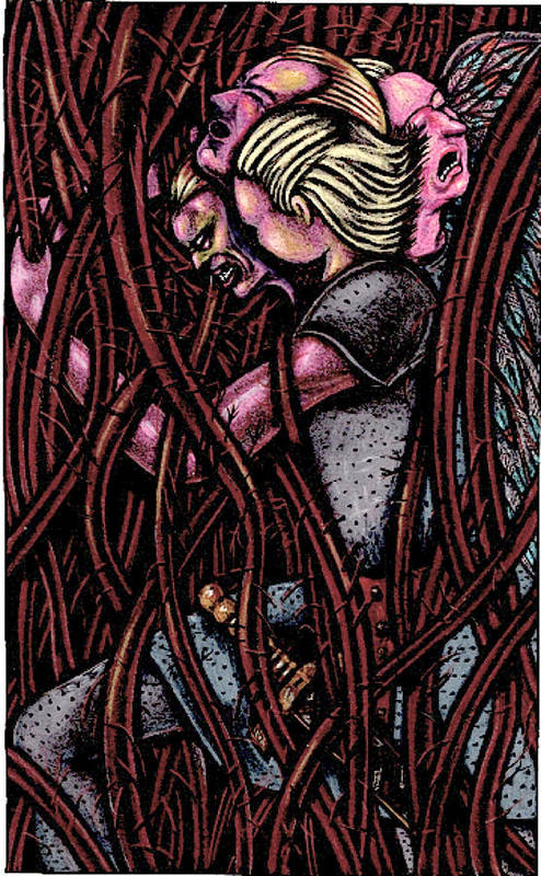 Vines Poster featuring the drawing Shamsiel In The Roots by Al Goldfarb