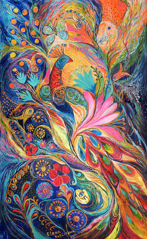 Original Poster featuring the painting The King Bird. The Original Can Be Purchased Directly From Www.elenakotliarker.com by Elena Kotliarker