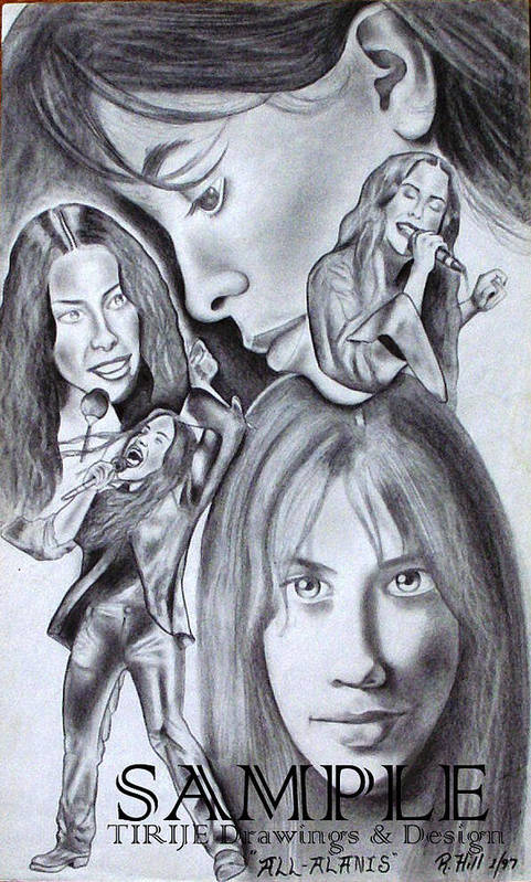 Portraits Poster featuring the drawing Allalanis by Rick Hill