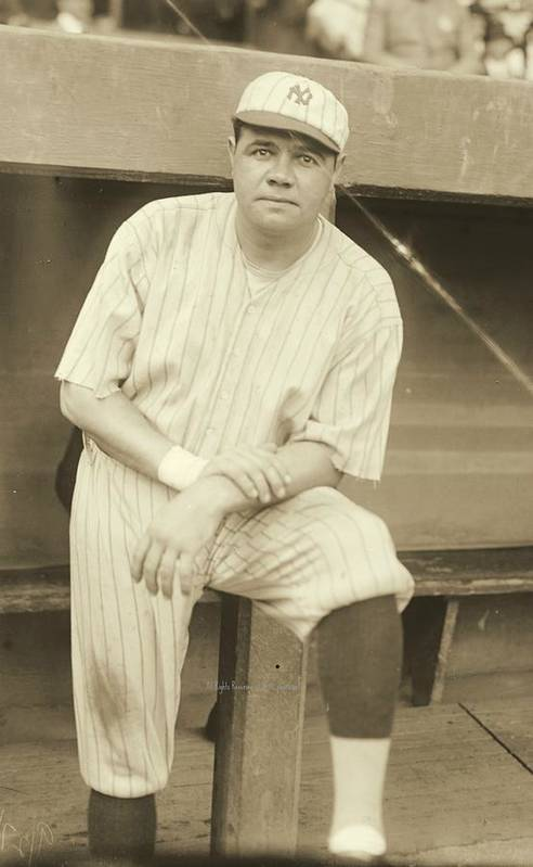 Babe Ruth Posing Poster featuring the photograph Babe Ruth Posing by Padre Art