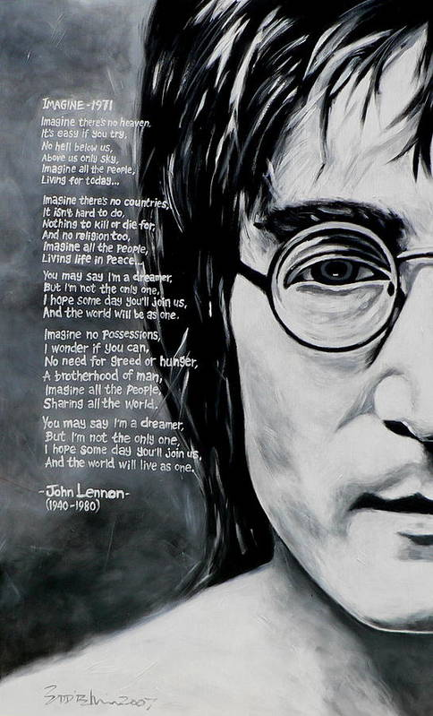 Figurative Poster featuring the painting John Lennon - Imagine by Eddie Lim