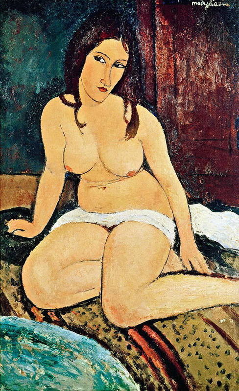 Seated Poster featuring the painting Seated Nude by Amedeo Modigliani