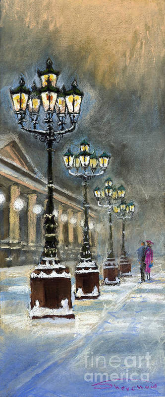 Pastel Poster featuring the painting Germany Baden-Baden Kurhaus by Yuriy Shevchuk