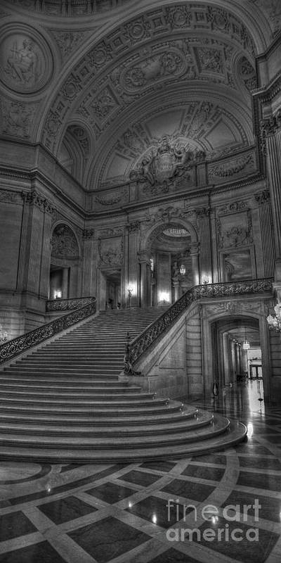 Black And White Poster featuring the photograph City Hall Grand Stairs by David Bearden