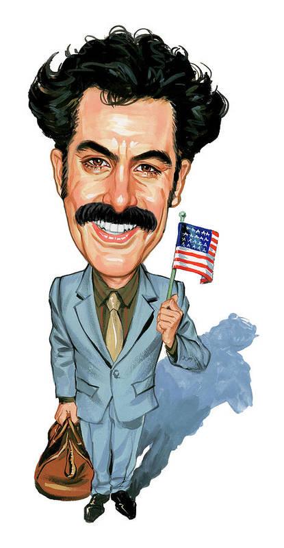 Borat Sagdiyev Poster featuring the painting Sacha Baron Cohen as Borat Sagdiyev by Art