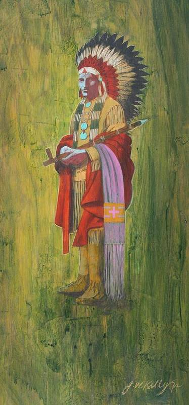 Oglala Sioux Chief Red Cloud Dressed In Colorful Regalia Poster featuring the painting Standing Chief Red Cloud by J W Kelly