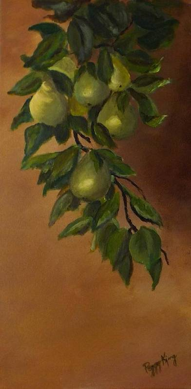 Nature Poster featuring the painting Sun Kissed Pears by Peggy King