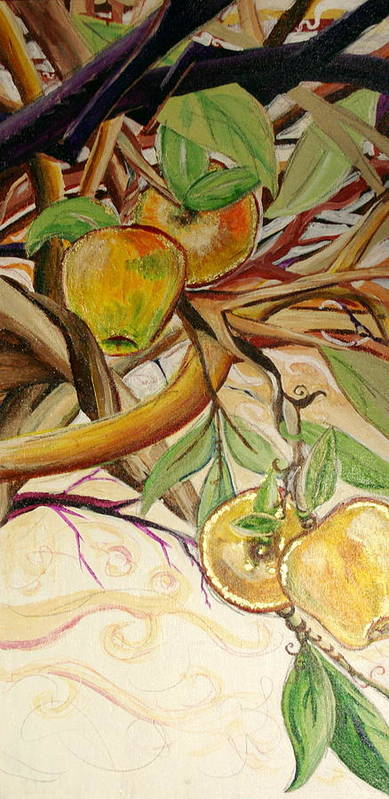 Apple Poster featuring the painting Fifth World Two by Kate Fortin