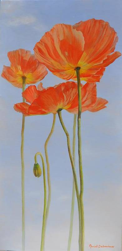 Floral Painting Poster featuring the painting Pavots d Islande by Muriel Dolemieux
