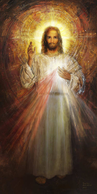 Divine Mercy Image Poster featuring the painting Divine Mercy, Sacred Heart of Jesus 1 by Terezia Sedlakova