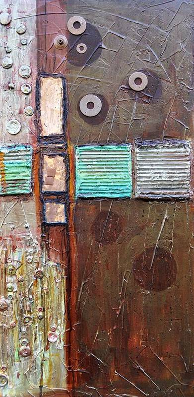 Abstract Collage Poster featuring the painting Machine Shop 1 by Ginger Concepcion