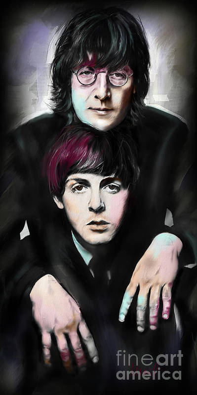 The Beatles Poster featuring the painting McCartney and Lennon by Melanie D