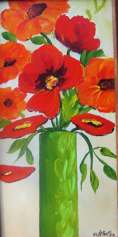 Painting Poster featuring the painting Orange flowers in Lime Green Vase by Carrie Allbritton