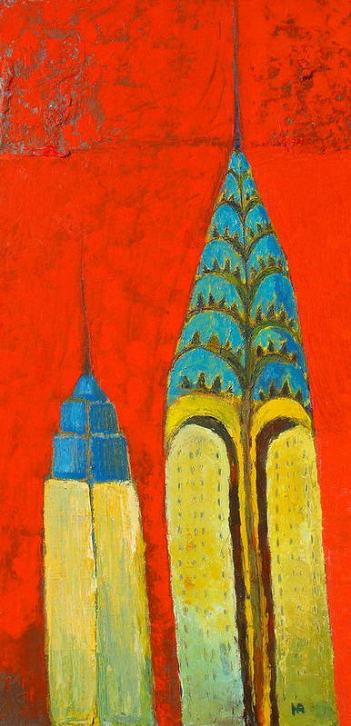 Poster featuring the painting The Chrysler And The Empire State by Habib Ayat