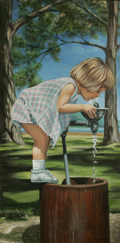 Children Poster featuring the painting The Fountain by Colleen Maas-Pastore