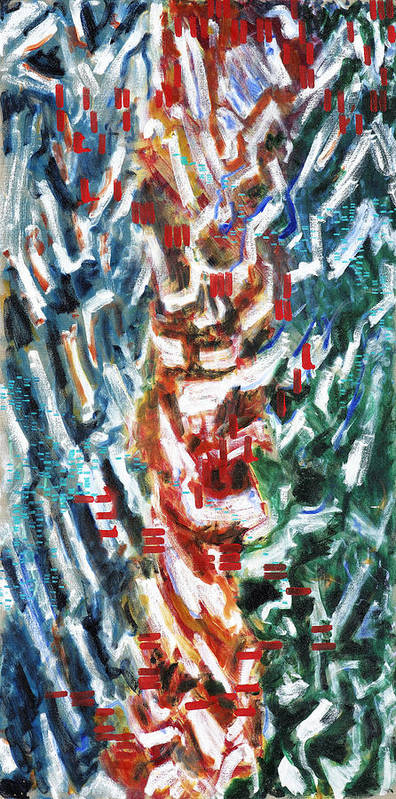 Abstract Red Green Blue White Pattern Poster featuring the painting Totem by Joan De Bot
