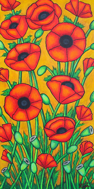 Colourful Poster featuring the painting Tuscan Poppies by Lisa Lorenz