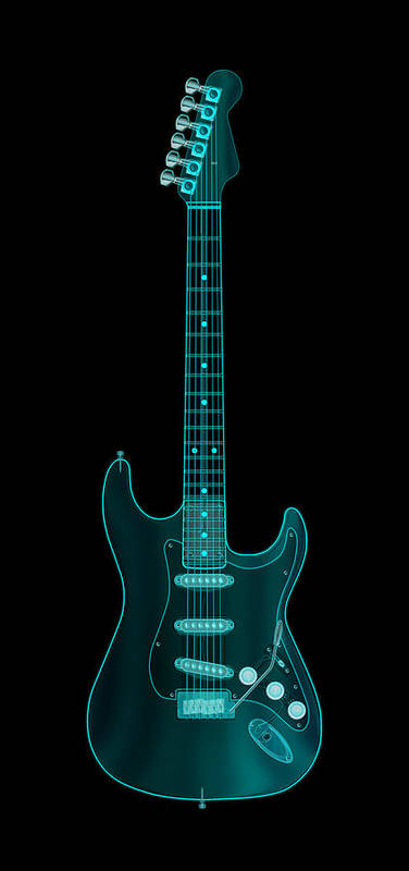 electric Guitar Poster featuring the digital art X-Ray Electric Guitar by Michael Tompsett