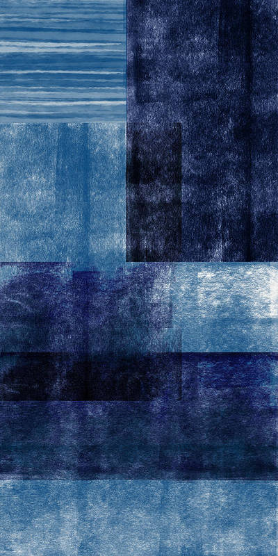 Abstract Poster featuring the mixed media Azul Blocks 1- Art by Linda Woods by Linda Woods