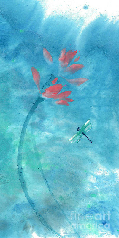 An Elegant Dragonfly Dotting Among Lotus Flowers On A Breezy Pond. The Painting Is Done With Watercolor On Rice Paper By Mui-joo Wee In Simple Contemporary Brush Strokes Poster featuring the painting Lotus and dragonfly by Mui-Joo Wee