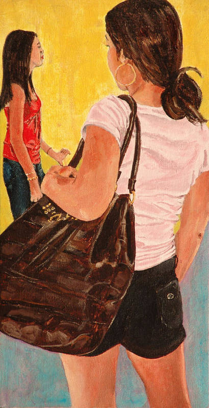 Girl Poster featuring the painting Girl With A Big Purse by Kevin Callahan