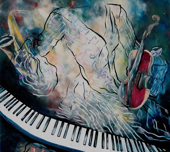 Surreal Music Poster featuring the painting Di Musica by Stephanie Cox