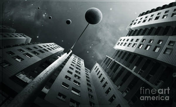 Surreal Poster featuring the digital art City2 by Simon Siwak