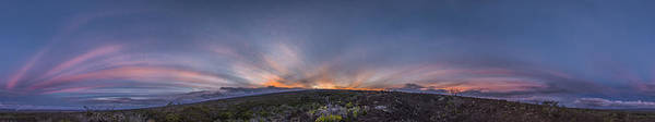Mauna Loa Hawaii Sunset Panoramic Landscape Crepuscular Rays Anti Crepuscular Rays Natures Poster featuring the photograph Crepuscular Burst by Sean King