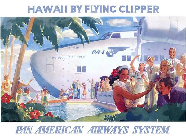 1939 HAWAII BY FLYING CLIPPER Pan American Airways System Travel Poster by Retro Graphics