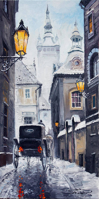 Oil Poster featuring the painting Prague Old Street 02 by Yuriy Shevchuk