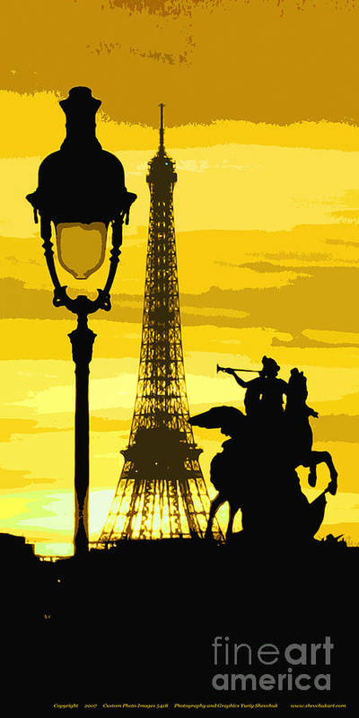 Paris Poster featuring the photograph Paris Tour Eiffel Yellow by Yuriy Shevchuk