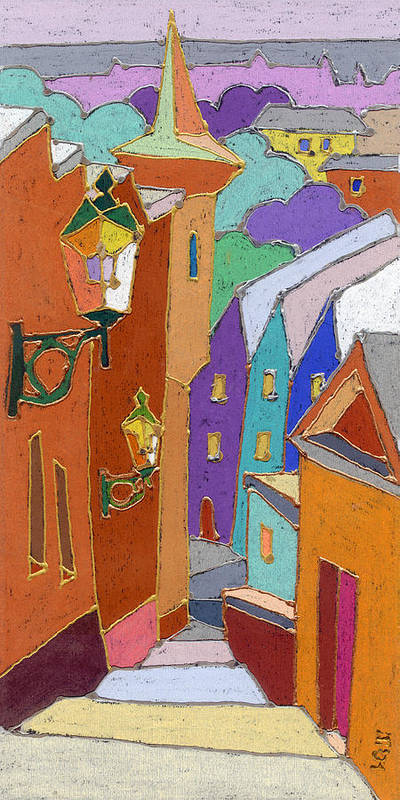 Pastel Poster featuring the painting Prague Old Steps Winter by Yuriy Shevchuk