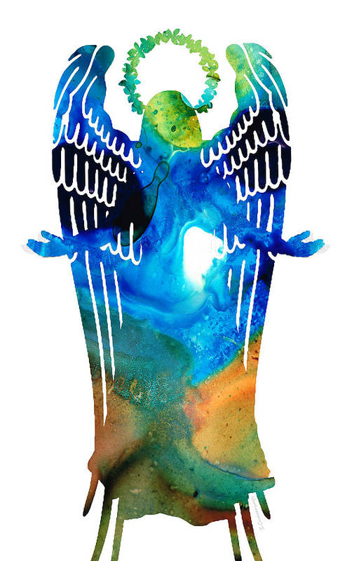 Angel Poster featuring the painting Angel Of Light - Spiritual Art Painting by Sharon Cummings