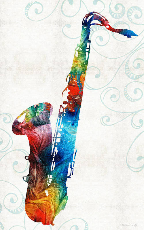 Saxophone Poster featuring the painting Colorful Saxophone 3 By Sharon Cummings by Sharon Cummings