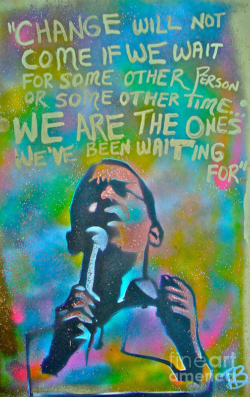 Barack Obama Poster featuring the painting Obama In Living Color by Tony B Conscious