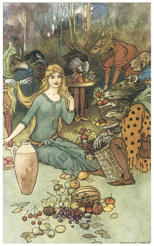 Warwick Goble Poster featuring the painting Buy From Us With A Golden Curl by Warwick Goble
