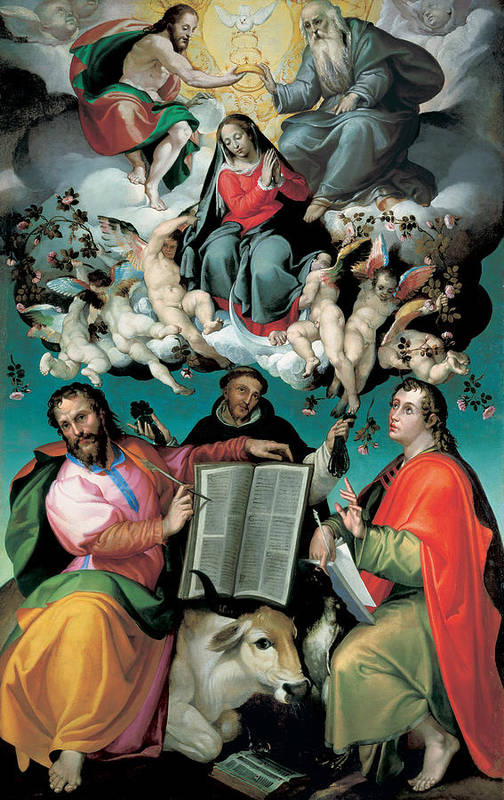 Virgin Mary Poster featuring the painting The Coronation Of The Virgin With Saints Luke Dominic And John The Evangelist by Bartolomeo Passarotti