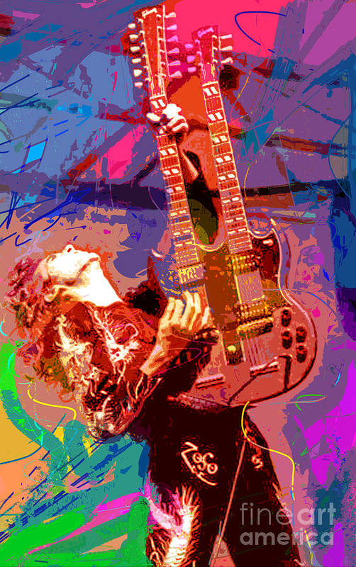 Jimmy Page Poster featuring the painting Jimmy Page Stairway To Heaven by David Lloyd Glover